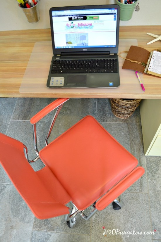 I blended Annie Sloan Chalk Paint colors to make this beautifiul coral color and transformed a red leather contemporary office chair. See my post for the recipe and leather painting tutorial H2OBungalow #paintedfurniture #contemporaryfurniture #chalkpaint
