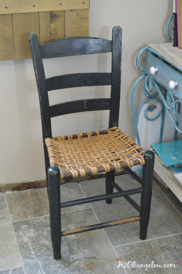 Before photo of my coastal rustic chair makeover H2OBungalow
