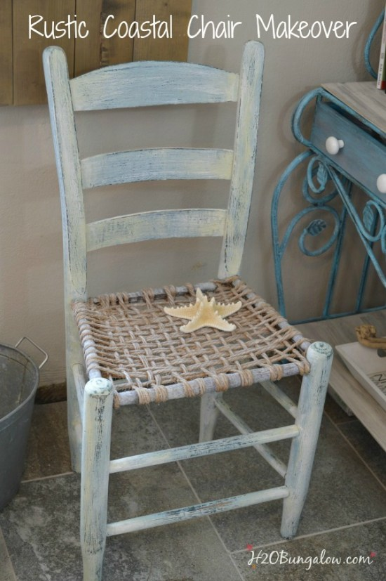 Rustic coastal vintage chair makeover with layered and distressed paint adds character and style to tis lovely chair by H2OBungalow #themedfurnitureday