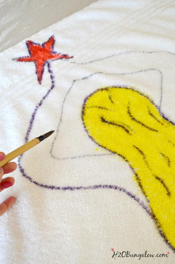 Painted tie dye mermaid on a beach towel by H2OBungalow