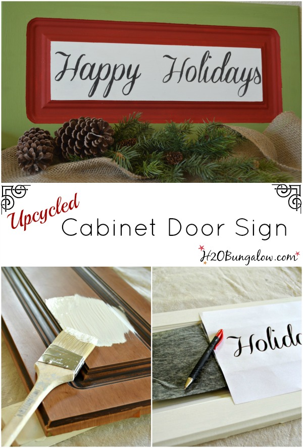 Upcycled and madeover cabinet door sign for the holidays. www.H2OBungalow