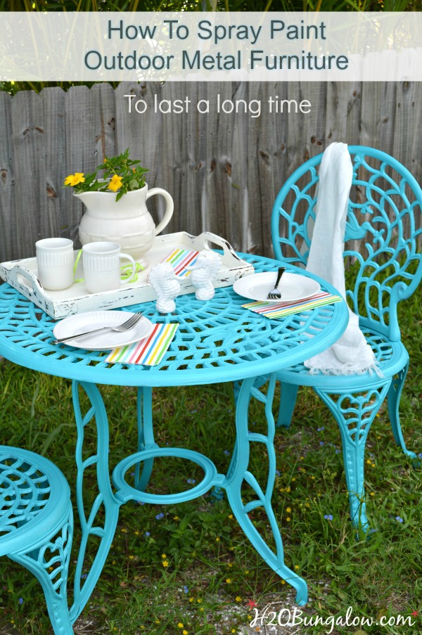 turquoise patio chairs hammock chair stand cheap how to spray paint metal outdoor furniture last a long time simple diy tutorial