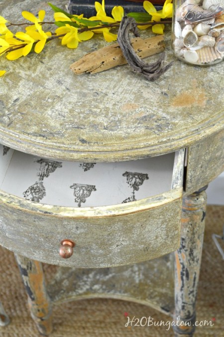 DIY aged chippy paint furniture makeover tutorial with stamped drawer H2OBungalow