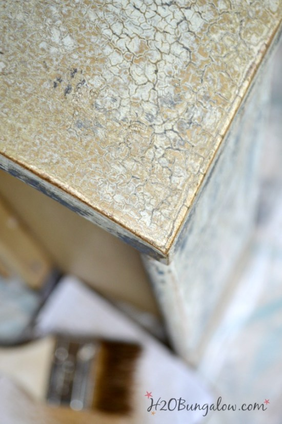 Dark antiquing wax for detail on chippy paint furniture makeover H2OBungalow