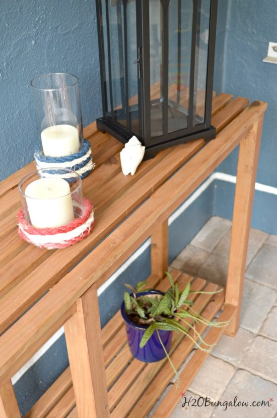 DIY outdoor sofa table tutorial. Could easily be a console or sofa table indoors too. H2OBungalow