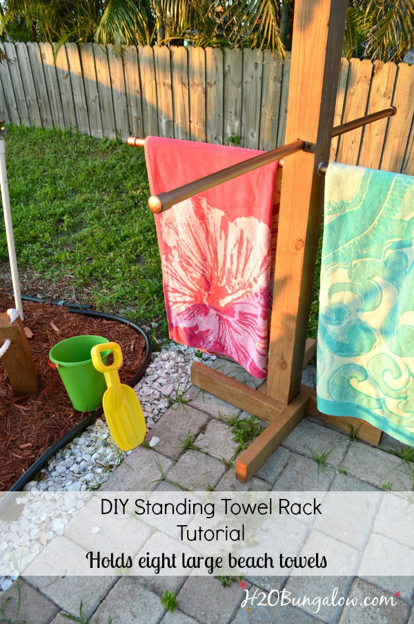 diy outdoor standing towel rack