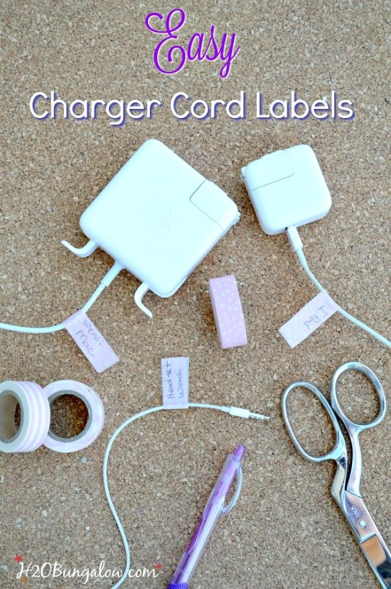 Make easy DIY charger cord labels in a few minutes. No more lost cords, and never mix up electronic cords or who owns a cord a again! H2OBungalow