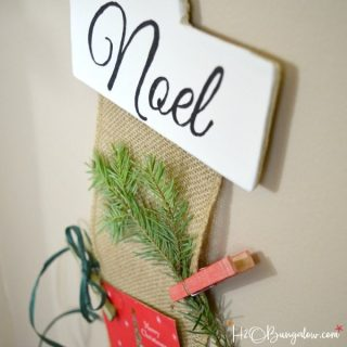 DIY hanging Christmas card holder tutorial with free downloadable patterns. Easy to make and a beautiful way to display Christmas cards.