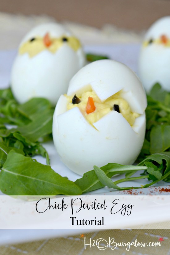 Easy to make deviled egg easter chick recipe and tutorial. They aren't hard to make but knowing a few tricks on how to make these cute chick deviled eggs is a must! Find them here at H2OBungalow