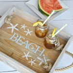 Easy tutorial to make a coastal style starfish DIY rope handle tray. Complete this project in a few hours. Follow simple steps and tips to finish your serving tray in a coastal, farmhouse or rustic style wood serving tray. Find 400+ home decor and home improvement projects at H2OBungalow.com