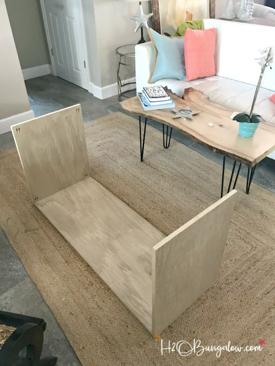 DIY media console with free plans tutorial. Build a media cabinet to hold electronics, add the matching wall mounted TV cabinet. Looks great in small spaces