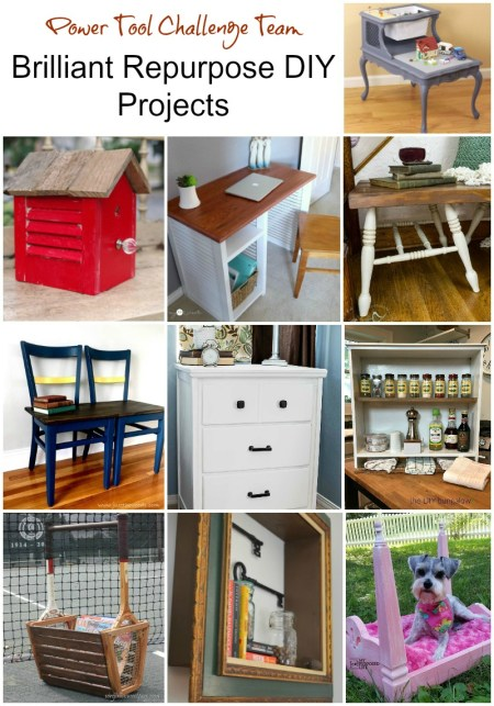 Brilliant repurposed DIY projects for home decor. All projects have a tutorial and were made with at least one power tool. Simple DIY upcycle projects