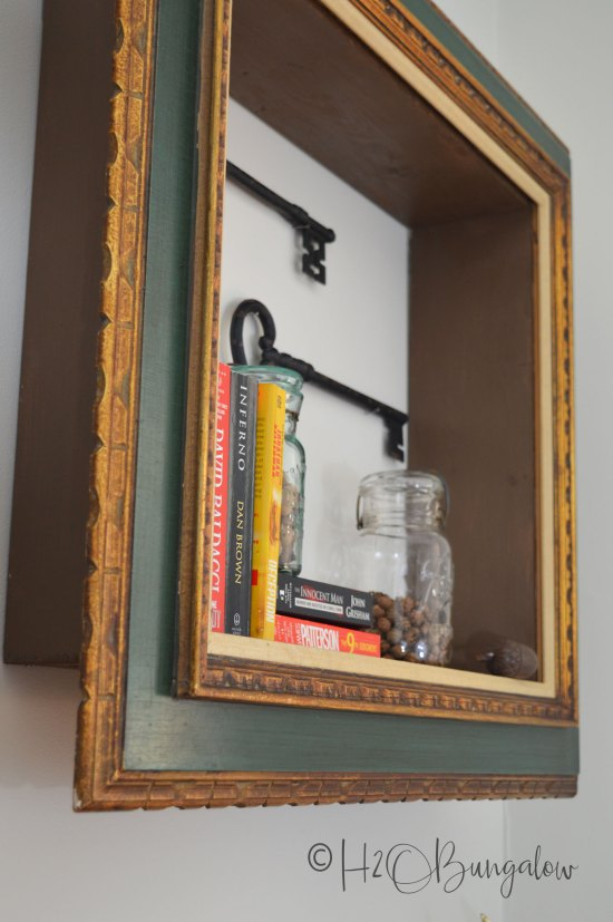 DIY repurposed picture frame wall shelves tutorial with instructions to make a shelf with a wood frame. Includes useful tips to hang frame wall shelves.