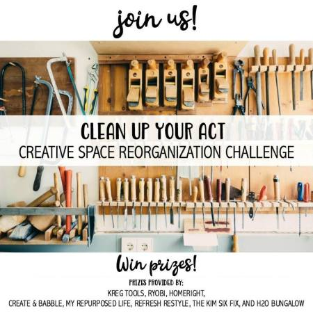 It's time to clean up your act!  Your creative space act that is.  Your workshop, studio, wood shop or craft room.  Share your before and after photo for awesome chances to win super cool prizes.  Details here!