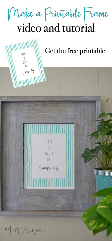 Easy to follow tutorial and video on how to build an easy DIY rustic picture frame to hang on the wall. Make a DIY frame to hold photos, art and printables. Change the finish for a beachy or modern farmhouse frame style. Make several sized wood frames and stack them in a vignette for a great look. #DIYframe #freeprintable