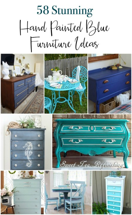 A huge collection of 53 gorgeous DIY painted blue painted furniture ideas. These are all hand painted furniture pieces in many shades and styles of blue. From breezy coastal to clean modern blue you'll find a wide variety of painted dressers, tables, seating, storage and more.