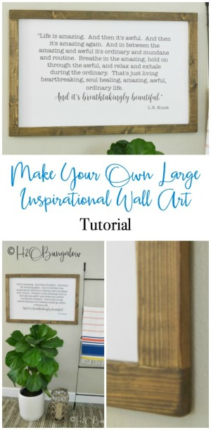 Easy to use tutorial and lots of free designs to download for this DIY large modern inspirational wall art project. Save big, make your own trendy sign with words to make easy wall home decor!