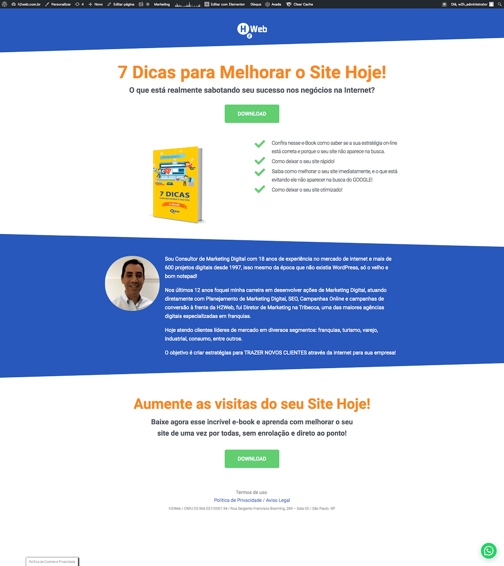 landing pages h2web