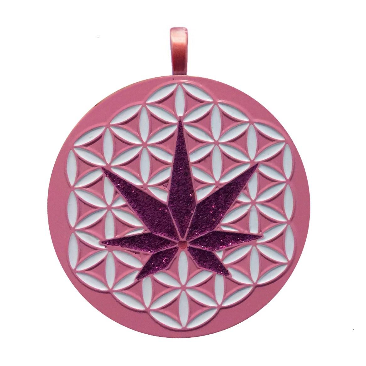 H3MP pink glitter logo pendant