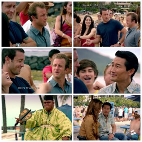 "Some fave char moments. A McRoll ""look"", Steve using one of Danny's hand gestures (I also totes agree on his hair comment), some laughter, Chin's always epic lack of game face (Love you Chin!), King Kamekona, and a cuz moment"