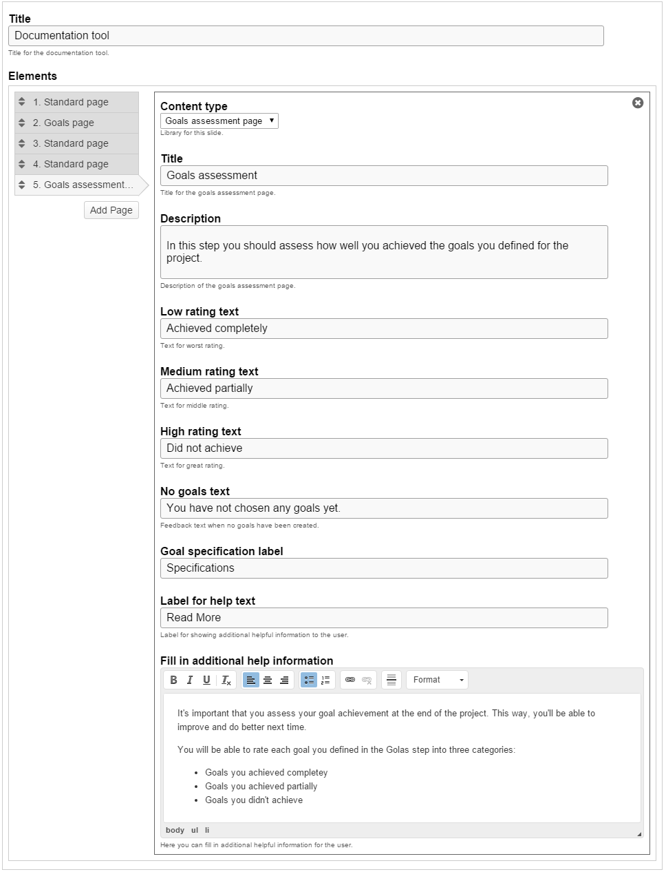 Add The Exact Same Content For Goals Assessment Page As In The  Documentation Tool Mentioned In The Above Example. After Adding Content To  The Goals