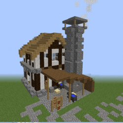 Detailed Medieval Blacksmith Forge Blueprints for MineCraft Houses Castles Towers and more GrabCraft