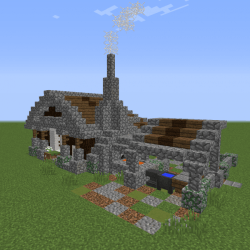 Medieval Blacksmith Homestad Blueprints for MineCraft Houses Castles Towers and more GrabCraft