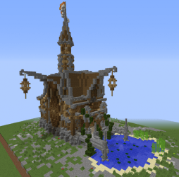 Medieval Fantasy Town Hall Blueprints for MineCraft Houses Castles Towers and more GrabCraft
