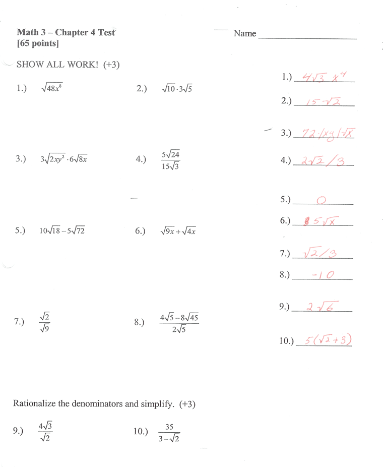 Math 3: Chapter 4 Test