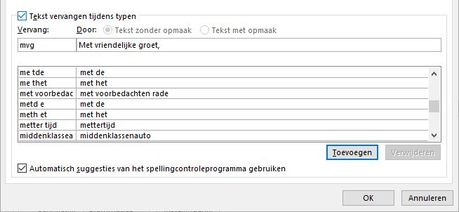 Autocorrectie (tekst vervangen)