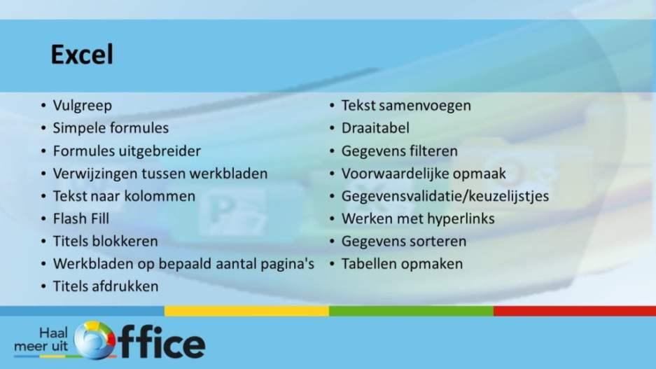 1-op-1-traject Haal meer uit Office - Excel