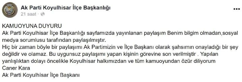 Tepki çeken paylaşım! AKP'li başkan özür diledi