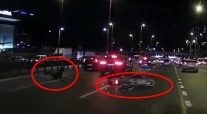 Motosiklete çarptı arkasına bakmadan kaçtı