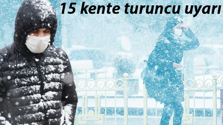 Meteoroloji'den 15 kente turuncu uyarı! Dikkat: Yoğun kar ve çok kuvvetli yağmur...