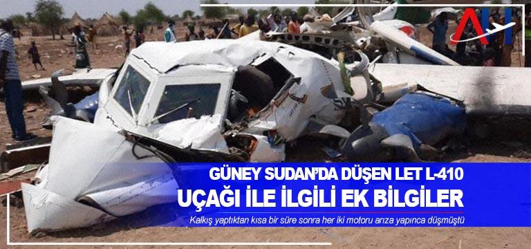 Güney Sudan'da düşen Let L-410 uçağı ile ilgili ek bilgiler