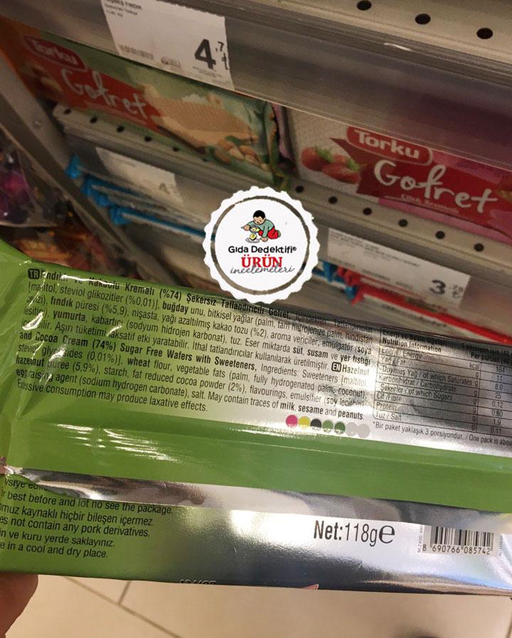 Ülker 9 Kat Fındıklı ve Kakaolu Kremalı Şekersiz Gofret - Gıda Dedektifi