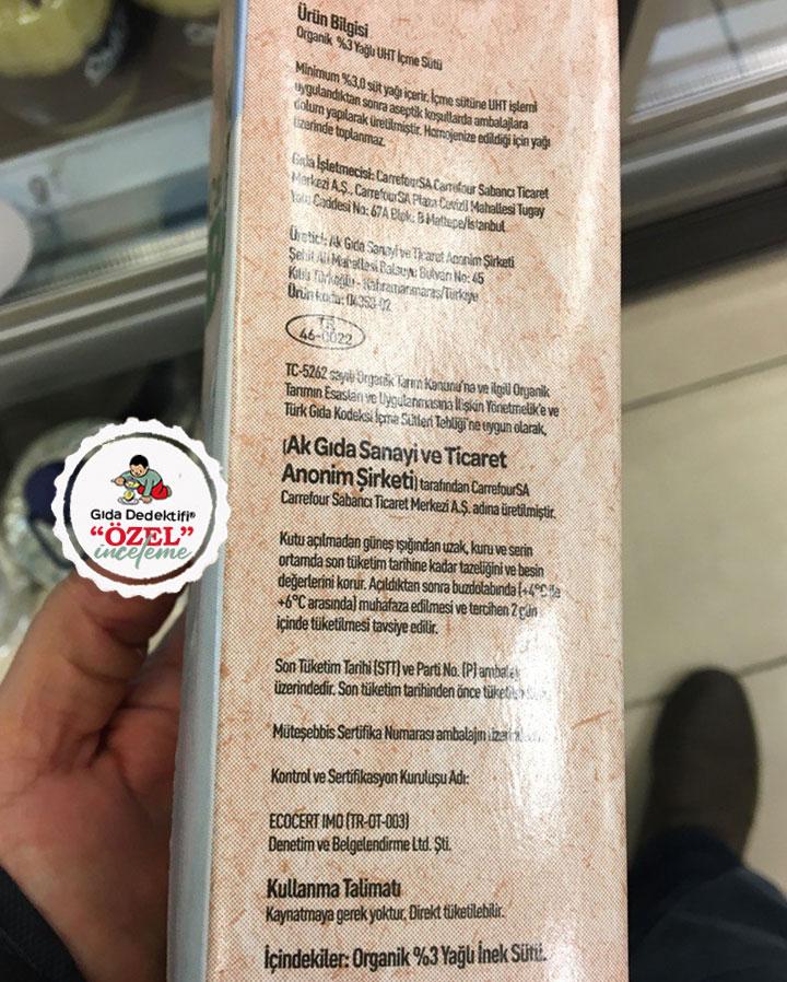 Carrefour Bio Organik Süt - Gıda Dedektifi