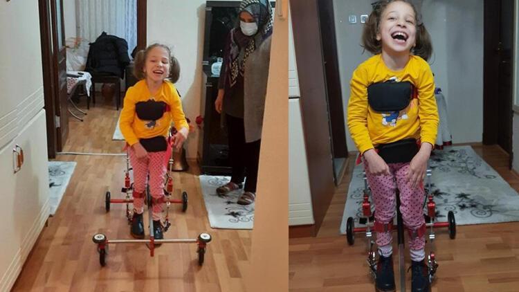 8 yaşındaki Miray'ın 'ilk adım' mutluluğu