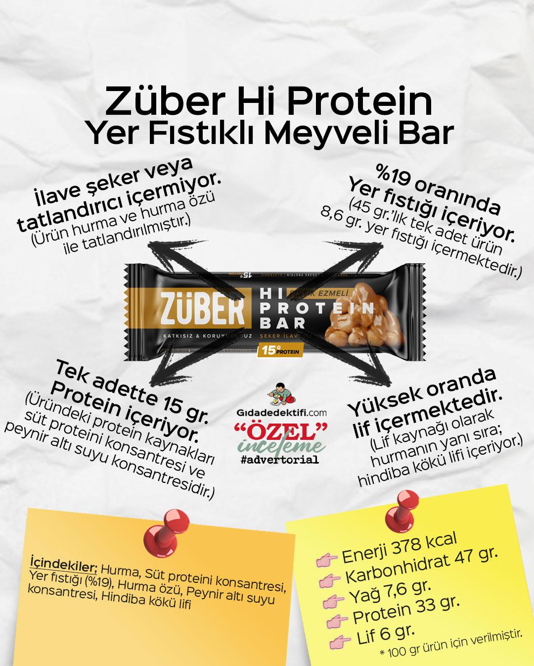 Züber Hi Protein Yer Fıstıklı Meyveli Bar - Gıda Dedektifi