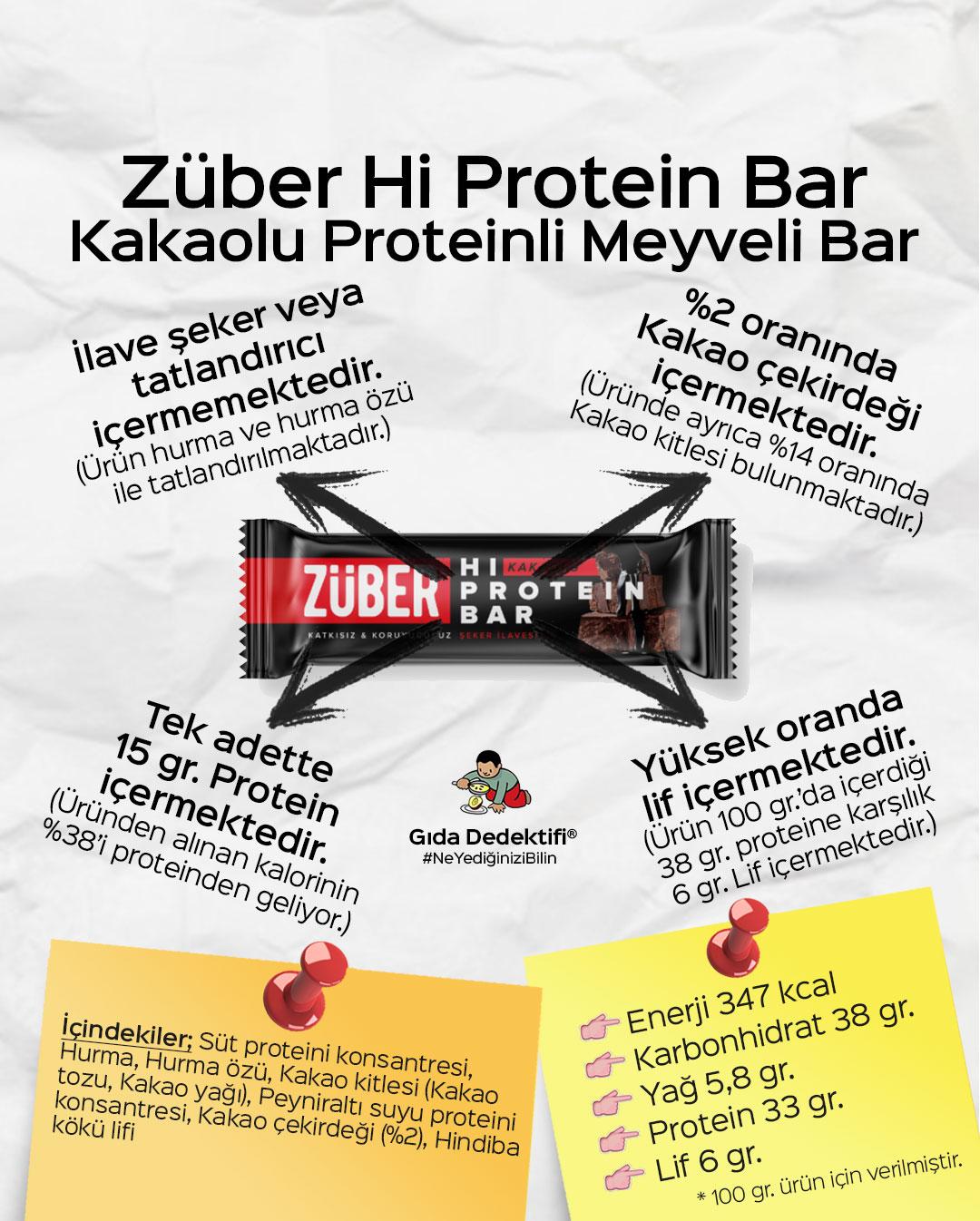 Züber Hi Protein Kakaolu Meyveli Bar - Gıda Dedektifi