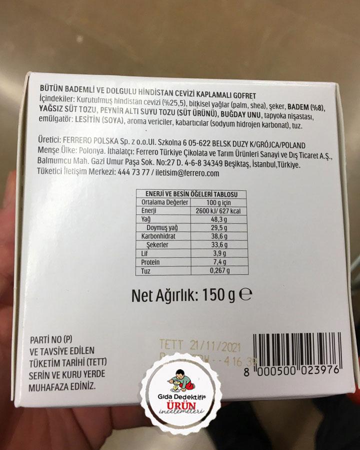 Ferrero Raffaello Hindistan Cevizi Kaplamalı Gofret - Gıda Dedektifi