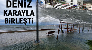 İzmir ve Balıkesirde fırtına kâbusu Onlarca tekne battı, su altında kaldı