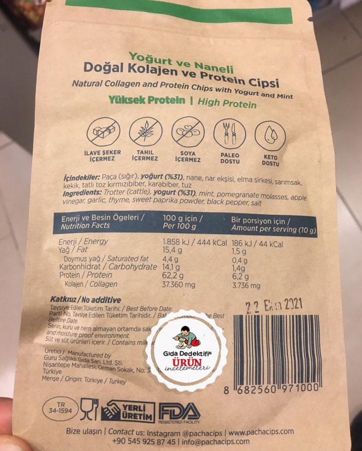 Pacha Yoğurtlu&Naneli Doğal Kolajen ve Protein Cipsi - Gıda Dedektifi