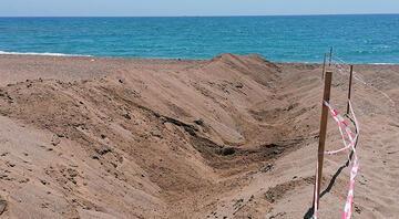 Caretta carettaların yuvaları tahrip edildi Belediye önlem için plaja hendek kazdı