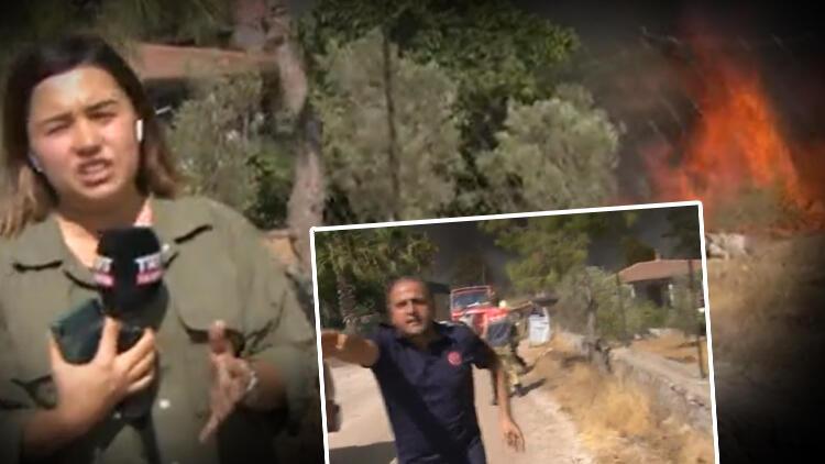 Marmaris'te Hisarönü Mahallesi'nde felaket devam ediyor! Muhabirin zor anları: Yangının tam ortasındayız, evler yanıyor
