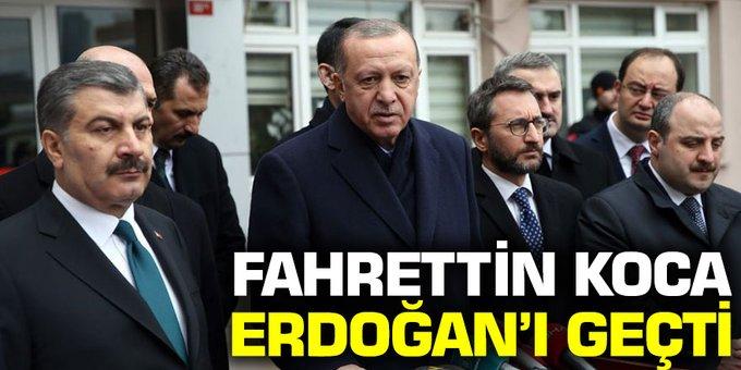 Fahrettin Koca, Cumhurbaşkanı Erdoğan'ı geçti