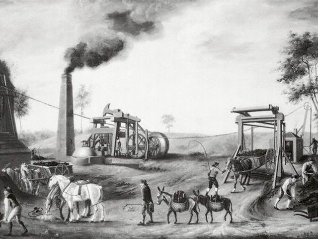 ca. 1820, England, UK --- England: A Pit Head. British coal mine in the beginning of the 19th century. Painting by an artist of the British School, ca. 1820. --- Image by © Bettmann/CORBIS
