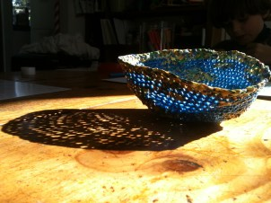 Blue plastic yarn (plarn) bowl