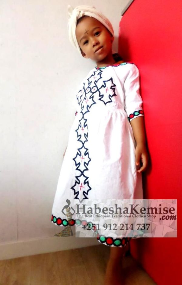 Blue Desta Ethiopian Traditional Dress Kids-5