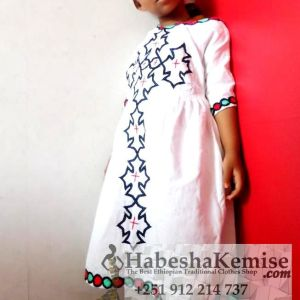 Blue Desta Ethiopian Traditional Dress Kids-5